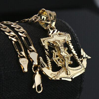 "Jewellery - Jesus Anchor 14k Gold PT Brass Pendant 5mm 18"" Figaro Necklace Choker Chain"
