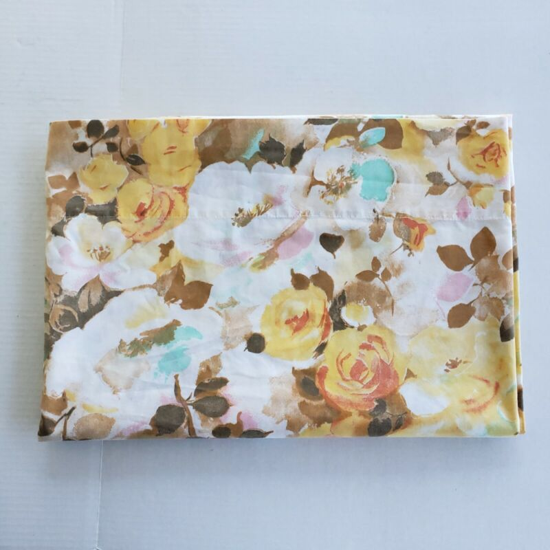 Vintage Cannon Floral Flat Sheet Flowers Watercolor Shabby Chic Eclectic