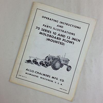 Allis Chalmers 70 Series 10 12 Moldboard Plows Mounted Operator Parts Manual