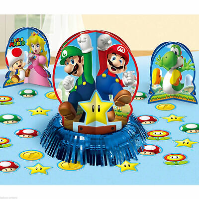 Super Mario Brothers Table Decorating Kit Birthday Party Supplies Center Piece  (Super Mario Brothers Decorations)