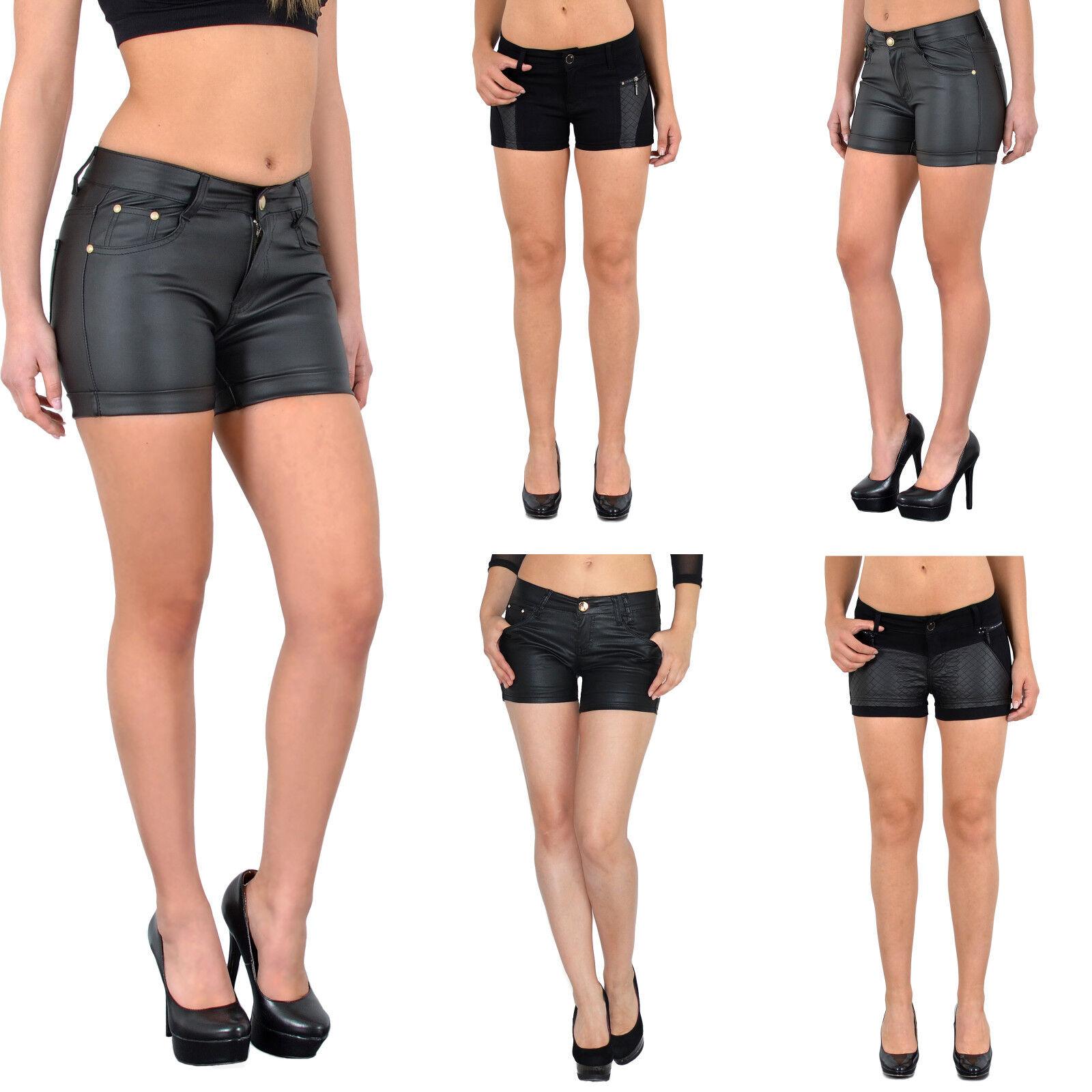 02db5e3b14080a Damen Hotpants Damenshorts Leder Optik Hot - Pants Damen Shorts kurze Hose  H35*