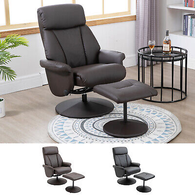 Recliner Chair Swivel Lounge Highback PU Leather with Footrest Stool Armchair