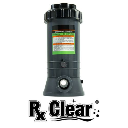 Rx Clear Inground In-line Swimming Pool Chlorinator Chemical Feeder-Holds 9 lbs