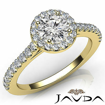 French U Pave Halo Round Diamond Engagement Wedding Ring GIA F Color VS1 1.22Ct