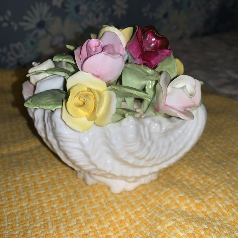 Vintage Coal Port Bone China Bouquet of Flowers In Seashell Vase Made in England