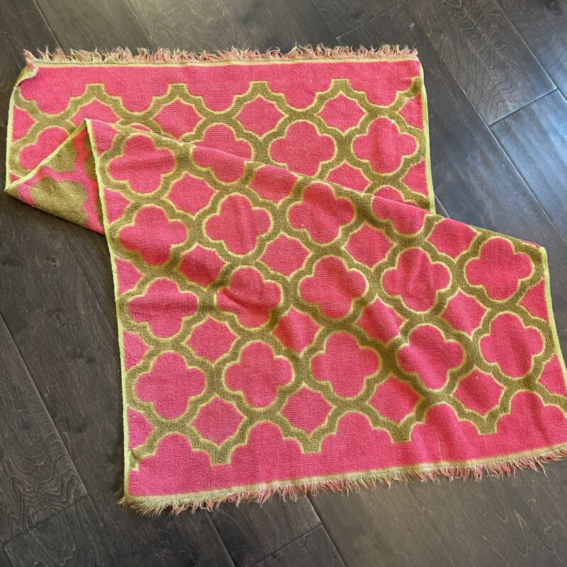 """Vintage SEARS Terry Cloth Pretty Pink And Olive Towel 25"""" X 40"""" Moroccan Fringe"""