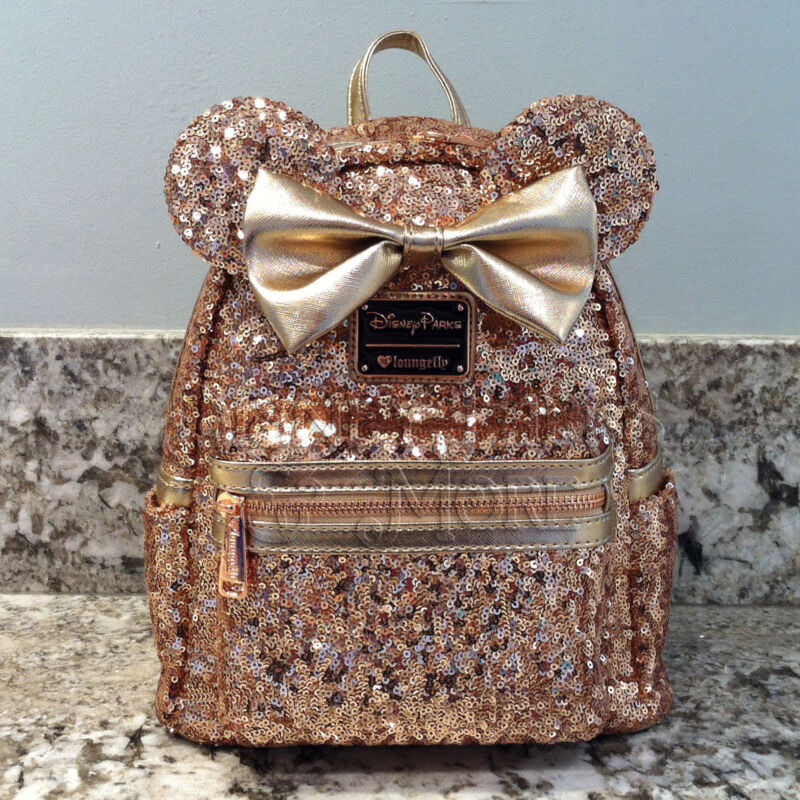 6210395764a Disney Parks Disneyland Loungefly Rose Gold Ears Sequin Minnie Mini Backpack