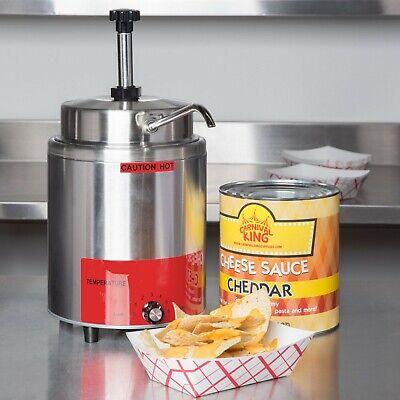3.5 Qt. Electric Countertop Nacho Cheese Sauce Warmer Pump Dispenser - 120v
