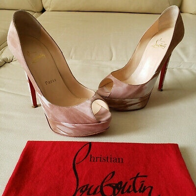 Christian Louboutin Banana 140 Woodstock Suede Peep Pump Heel 37 Lady Very Prive