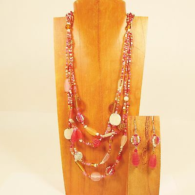 8PC Handmade Beaded Waterfall Necklace & Earring Set WHOLESALE LOT 4 Colors