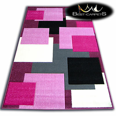 THICK MODERN RUGS 'PILLY' CARPETS SQUARES PINK PURPLE Print Area CHEAP