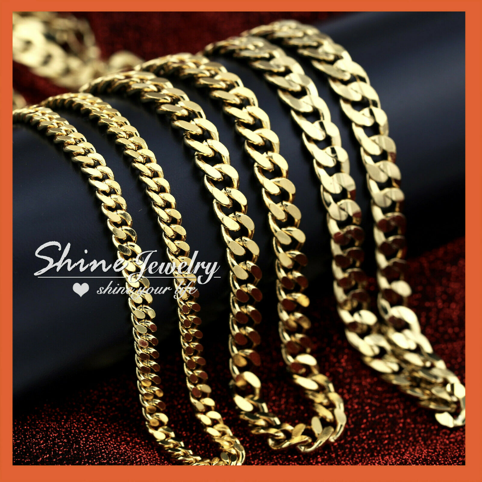 Jewellery - 24k YELLOW GOLD GF CUBAN CURB CHAIN MENS WOMENS SOLID 16-28INCH ITALIAN NECKLACE