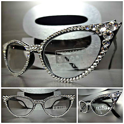 Womens VINTAGE CAT EYE Style READING EYE GLASSES READERS Clear Crystals Handmade