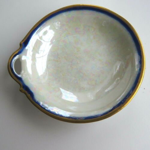 """Four Noritake Nippon Luster Ware Butter Pat Dishes 3"""" Dia Blue White Gold"""