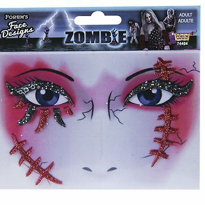 Zombie Cosplay Costume Glitter Face Design Tattoo Makeup Art Halloween Scar