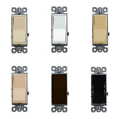 Decora Rocker Switch 15A Single Pole Light Switch Enerlites 91150 (10 (Single Pole Decora Rocker Switch)