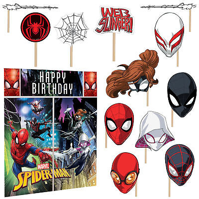 SPIDER MAN + 12 Props Scene Setter Wall Decoration Boys Birthday Party Supplies - Spider Man Decorations