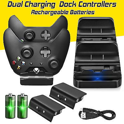 Xbox One Dual Charger Dock Charging Station 2 Rechargeable Batteries Controller