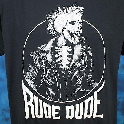 vintage 80s RUDE DUDE PUNK BIKER SKELETON PAPER THIN T-Shirt L/XL skull mohawk (80 Punk)