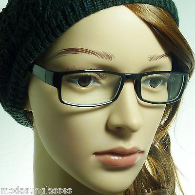 NERD Fashion Unisex Men Women Rectangle Frame Clear Lens Eye Glasses BLACK
