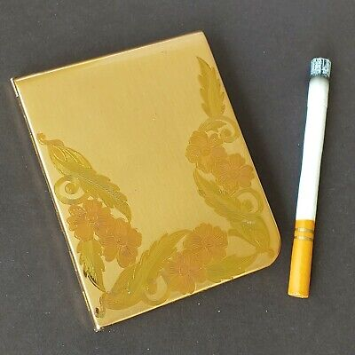vtg Elgin American cigarette case holder gold tone flower art deco floral mcm