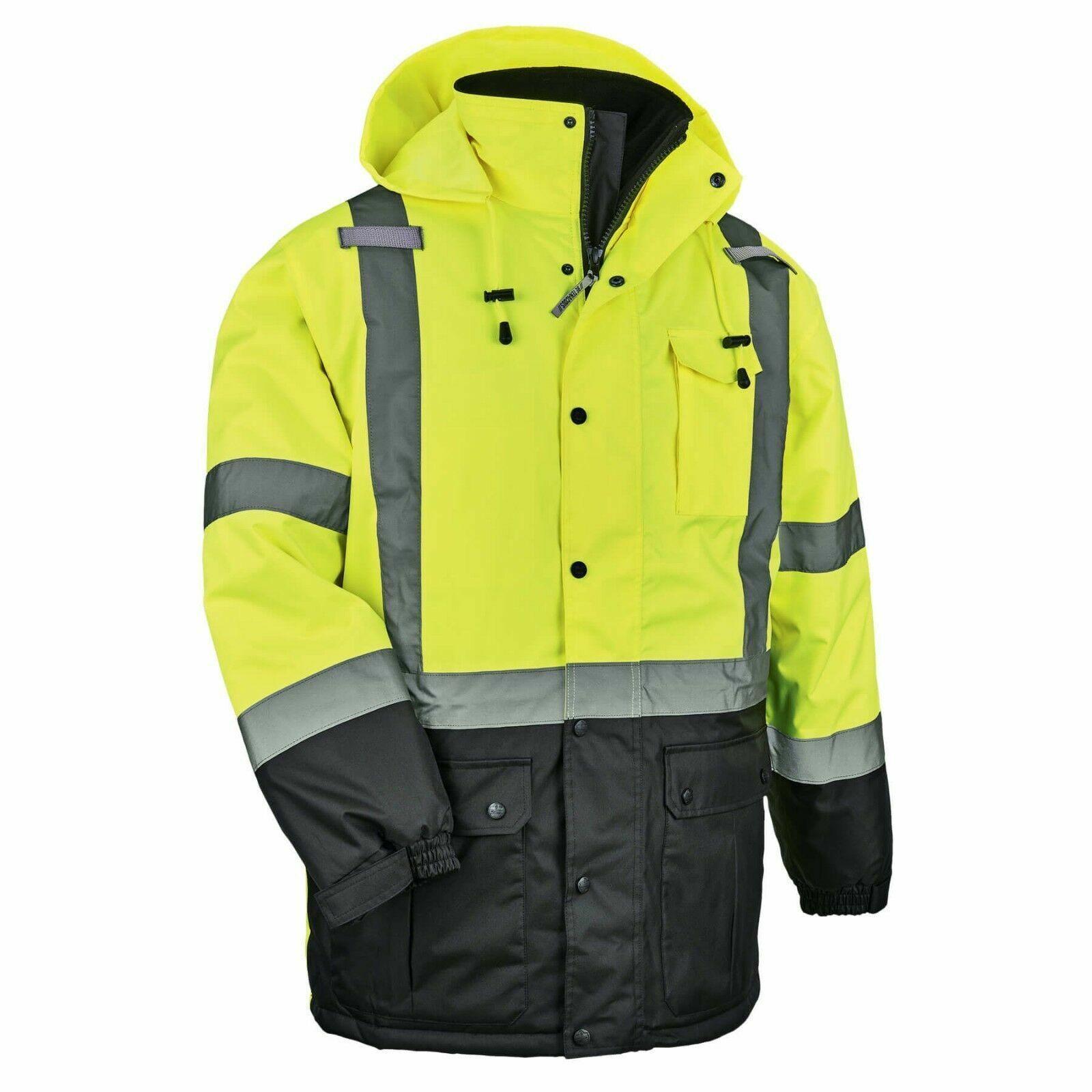 Ergodyne 8384 Glo Wear Thermal Parka Neon Lime ANSI  Class 3  Size Medium & XL Business & Industrial