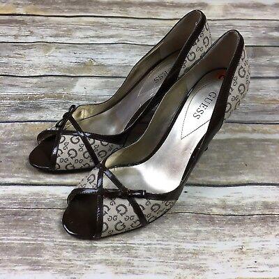 Guess Women's Heels Pumps Size 9.5 M Brown Beige Guess Logo Print Peep Toe