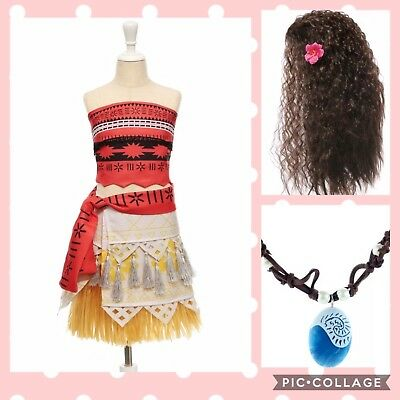 Girls Teen S Movie Princess Moana Cosplay Set Dress Up Halloween Costume Wig - Princess Halloween Costumes Teenage Girl