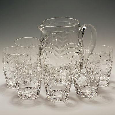 Stuart Crystal 7 Piece Lemonade Set 6 Glasses & Jug - signed Art Deco Style