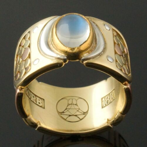 Heavy Arthur Korb Solid 18K Multi-Color Gold & 1.33 Ct Moonstone Estate Ring