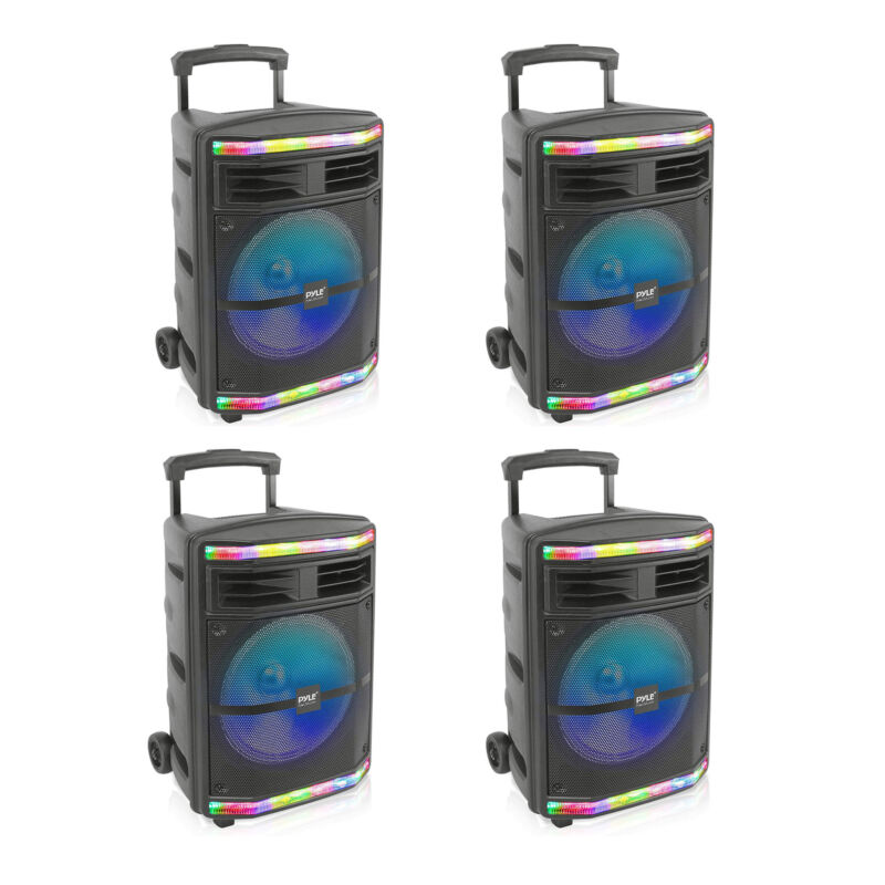 Pyle PPHP1044B Portable Bluetooth Speaker System with Flashing Lights (4 Pack)