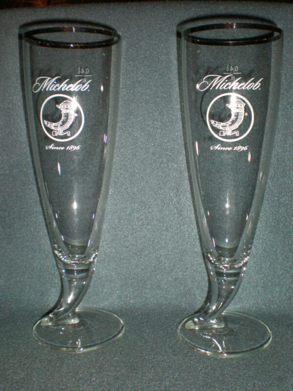 MICHELOB RITZENHOFF CRISTAL HORN PILSNER BEER GLASSES .4L SET OF 2