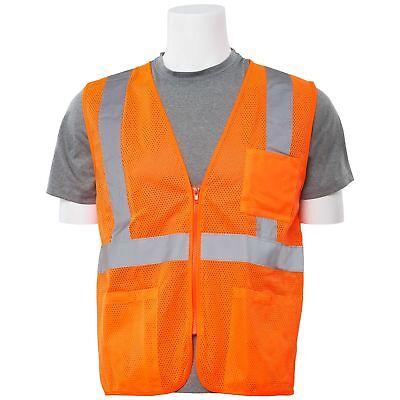 Erb Class 2 Reflective Mesh Safety Vest With Pockets Orange