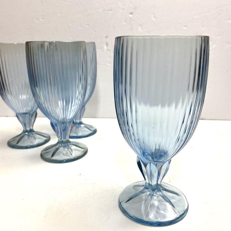 """4 Fostoria Light Blue Monet Ice Tea Goblet Glasses 6 7/8"""""""