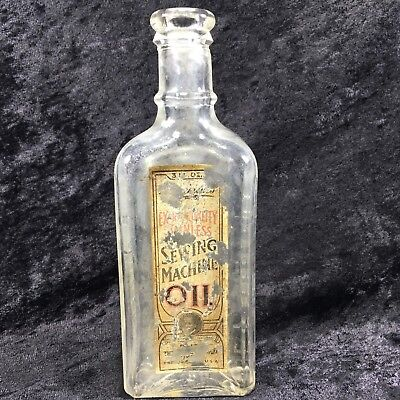 Antique Rockford Illinois Labeled Sewing Machine Oil Glass Bottle