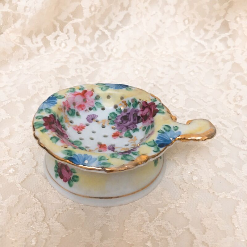Antique Hand Painted Tea Strainer and Receptacle