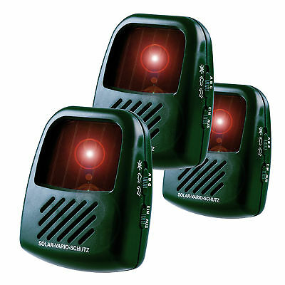 ISOTRONIC Hundeabwehr Vogelschreck Katzenschreck Tierabwehr Solar 3er Set
