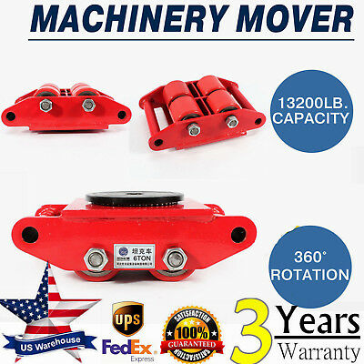 6t 4-rollers Heavy Duty Machine Dolly Skate Machinery Roller Mover Cargo Trolley