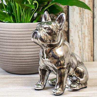 Silver Sitting French Bulldog Ornament Figurine Statue Cute Dog Lovers Gift