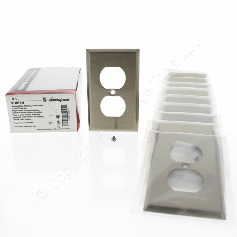 10 Cooper ANTIMICROBIAL Stainless Steel Duplex Outlet Wallplate Covers 93101AM