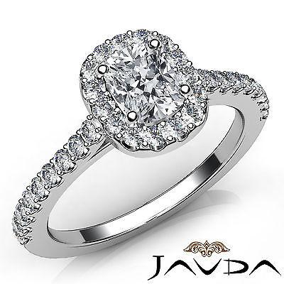 Halo U Cut Prong Set Cushion Diamond Engagement Ring GIA Certified H VVS2 0.85Ct