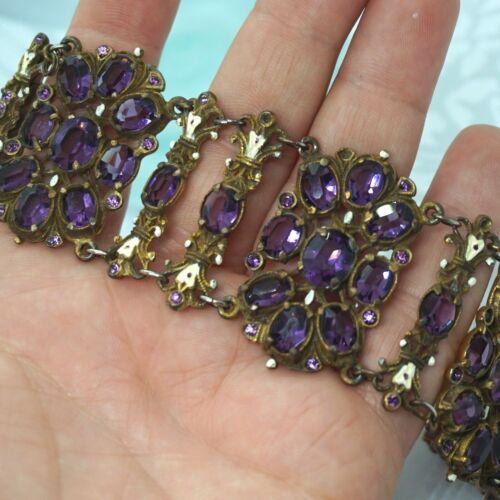 """Vintage Czech Austro Hungarian Revival Amethyst Paste Enamel Wide Bracelet 7.5"""""""