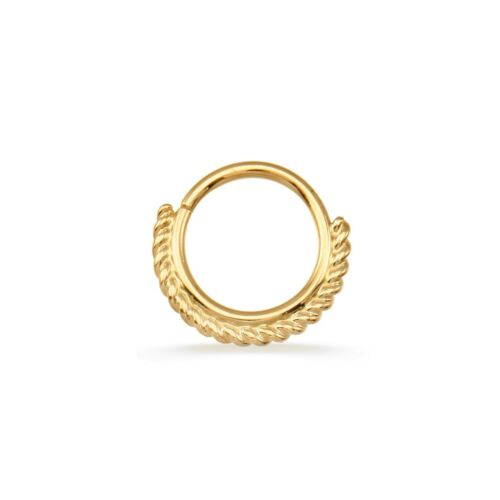14k Solid Yellow Gold Septum Ring with One Sided Filligree Daith Conch Helix 18g