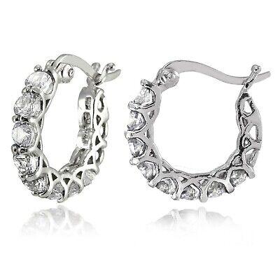 14K White Gold Crystal Pave Hoop Earrings Medium 0.86
