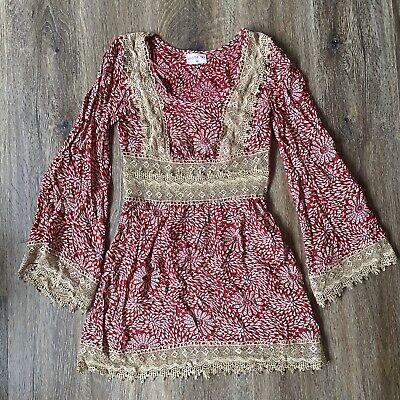 Kiss The Sky Mandala Crochet Print Bell Sleeve 70s Mini Dress XS Retro Vintage