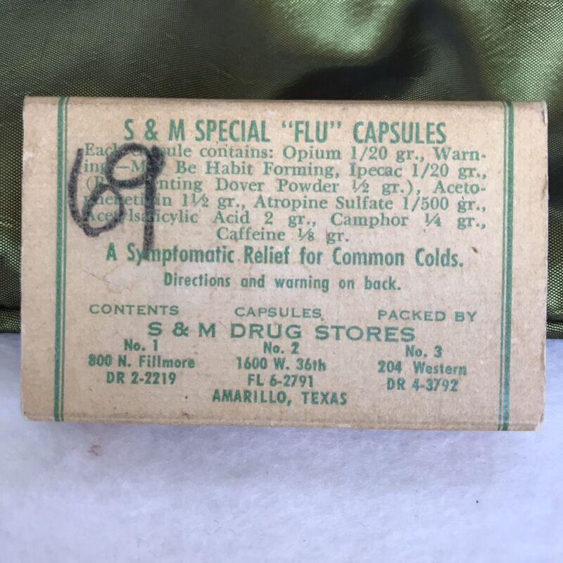 "Vintage Opium ""Flu"" Medicine Box Historical Medical Supply Narcotic Pharmacy"