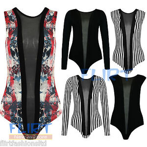 Womens-Black-Mesh-Insert-Panel-Body-Suit-Ladies-Contrast-Stripe-Sexy-Leotard-Top