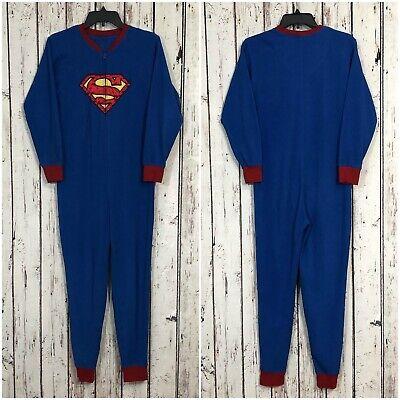 Superman Blue Adult XS Fleece Pajama Suit One Piece Zip Up Halloween Costume