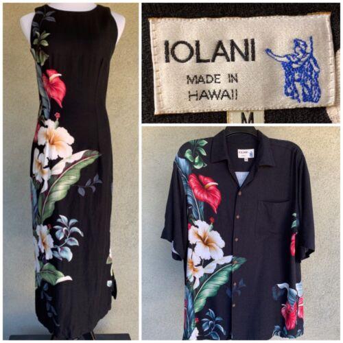 Iolani Vintage Barkcloth Hawaiian Honeymoon Wedding Set Dress and Shirt