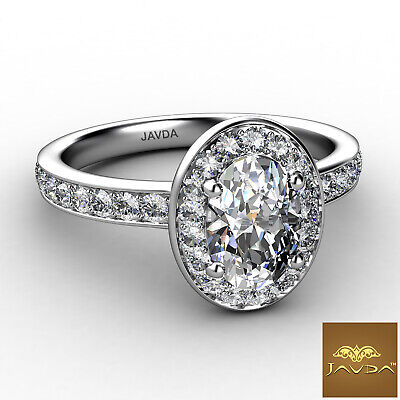 Halo Pave Set Cathedral Oval Cut Diamond Engagement Ring GIA F Color SI1 0.95Ct 1